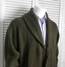 NEW Mens SIZE M ALPACA Olive Green Ribbed Shawl Collar Cardigan Sweater PERU