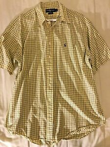Mens Ralph Lauren X Large Blake 100% Cotton Yellow and Blue Squares Xl 100% Cott