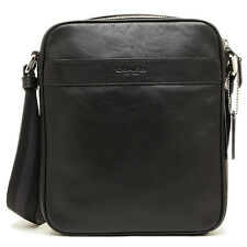 NWT Coach Men BLACK Flight Messenger Crossbody Leather Bag F54782 - New$295