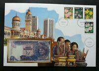 Malaysia Kuala Lumpur City 1990 Daily Life Flower FDC (banknote cover) *Rare