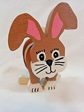 "Brown Bunny RABBIT FIGURINE 5"" Hand Painted Wood Easter Decor"