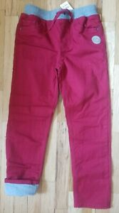NWT HANNA ANDERSSON JERSEY LINED SLIM PANTS  MAROON CINNABAR RED 140 10 $54 BTS