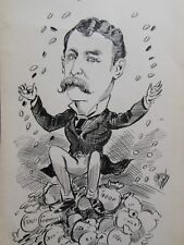 Original Christopher Davis Caricature Portrait (Lord Randolph Churchill?) c1886