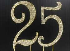 Gold  Rhinestone  NUMBER (25) Cake Topper 25th Birthday Party Anniversary