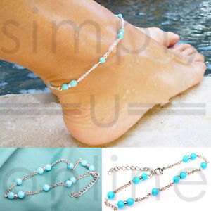 Turquoise Beads Ankle Bracelet Foot Silver Chain Anklet Jewelry