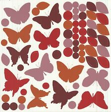 BUTTERFLIES SILHOUETTE 65 Wall Decals Butterfly Leaves Dots Room Decor Stickers