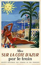 ON LINEN - ORIGINAL Vintage Travel Poster FRANCE French Riviera Côte Azur CANNES