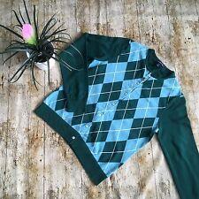 Fabulous LAND'S END 100% Supima Soft Cotton Argyle Cardigan size S 10-12 green