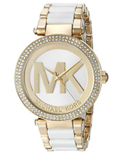 Michael Kors Gold Tone Parker White Acetate 39mm MK6313 Wrist Watch for Women