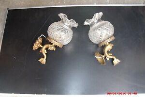 belle paire d'applique ancienne dauphin en bronze verrerie cristal