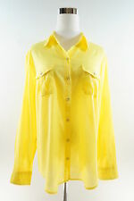NEW YORK & CO. Cotton Yellow Long Sleeve Button Down Roll Up Sleeve Shirt Size L