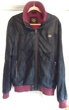 SUPERDRY Motorsport Biker Soft Leather Bomber Jacket - Black - Size Large