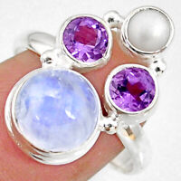 8.84cts Natural Rainbow Moonstone Amethyst Pearl 925 Silver Ring Size 9 R63923