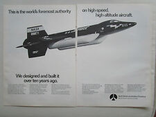 5/1969 PUB NORTH AMERICAN ROCKWELL X-15 RESEARCH AIRCRAFT NASA USAF ORIGINAL AD