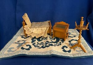 Antique Miniature Dollhouse Bedroom Furniture Lot inc Bed, slant top desk, tug