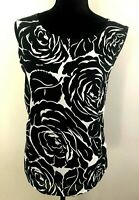 Regatta Women's size 18 Black and White Sleeveless Floral Lined Blouse