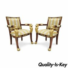 Pair of French Empire Regency Style Carved Mahogany Lion Paw Foot Arm Chairs