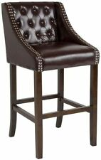"""Flash Furniture Carmel 30"""" Leather Tufted Bar Stool in Brown and Walnut New"""