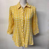 Denim & Company Yellow White Gingham Plaid Button Up Shirt Blouse Womens XS