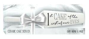 """Wedding Cake Server Enesco Our Name is Mud Ceramic Wedding Cake Server, 9.875 """""""