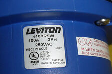 #1729  Leviton Receptacle 4100R9W  100 AMP 3 Phase 250 VAC w/backbox (BX100V)