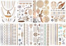 8 Sets GOLD Flash Tattoos 100 Motive PARTY SET Temporary Tattoos Bling Body Tats