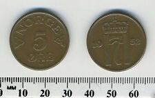 Norway 1952 - 5 Ore Bronze Coin - King Haakon VII - #1 (KM# 400)