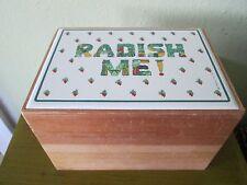 Vtg Taylor & NG Radish Me!  Wooden Wood Recipe Organizer File Box with Dividers