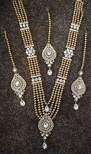 Indian Bridal Haar Gold White Polki Jewellery Necklace, Earring and Tikka