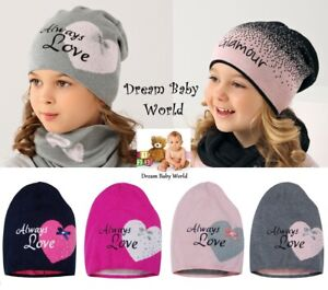 BEANIE girls hat knitted KIDS 2-5 years CHILDREN CAP heart Love NEW