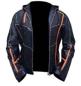Mens IRON MAN Jacket Tony Stark Avengers Infinity War Blue Real Leather Hoodie