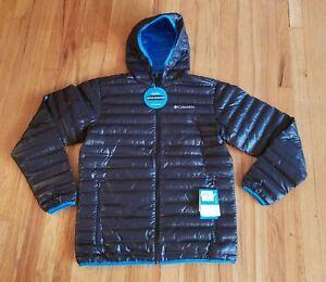 Men's Columbia Flash Forward Hooded Down Jacket (Medium, Black/Blue)
