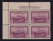 Canada Sc #273 (1946) $1 Train Ferry UL Plate Block Mint VF NH MNH