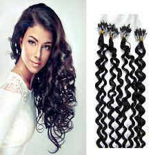 Curly Remy Human Hair Extensions Micro Ring Beads Loop Tip Hair Black100S 20inch
