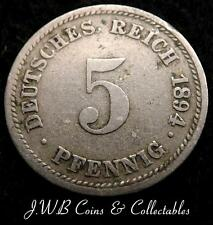 1894-D Germany 5 Pfennig Coin