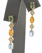 3.90 Ct Natural Ceylon Sapphire and Diamond in 14K Yellow Gold Stud Earrings