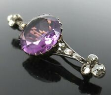 Antique 15ct Amethyst & 0.80ct Rose Cut Diamond Silver & Gold Bar Pin
