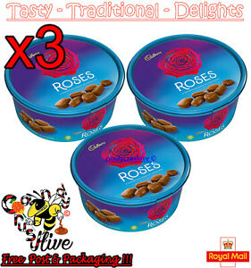 3x Christmas Chocolate Tubs Roses Tub - New