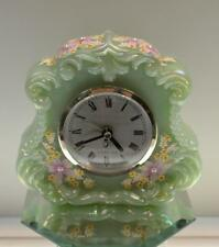 Fenton CLOCK Willow Green Irid PINK WILDFLOWERS Pearl Center OOAK FREEusaSHIP