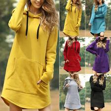 Women Sports Hooded Sweatshirt Pullover Hoodie Mini Dress Casual Pockets Tops