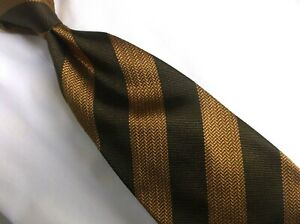 "Gianfranco Ferre Brown Striped 100% Silk Neck Tie 60"" L/ W 3.5"" Made in Italy"