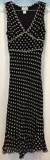 Paradise NY Dress Women's S Black Ivory Polka Dot Striped V-Neck Flared Ruffled
