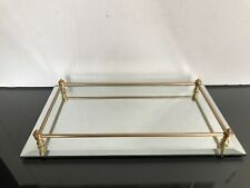 Vintage Mirrored VANITY TRAY Beveled Brass Rail Surround 14 x 8 EC