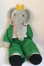 "Babar the Elephant Plush Eden Green Toys Vintage 22"" Yellow Crown Stuffed Animal"
