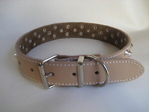 LEATHER STUDDED LATTE DOG COLLAR