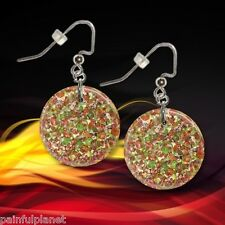 "SUPREME PIZZA  Italian 1"" Button Dangle Earrings  FREE PIN  USA Seller"