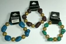 LOT 3 pcs STONE BLUE GREEN BROWN GOLD TONE MATCHING JEWELRY STRETCHY BRACELET