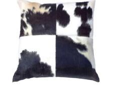 Black & White Genuine Cowhide Leather Hand Stitched Luxury Cushion - 45cm x 45cm