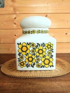Vintage Taunton Vale RARE X-LARGE 70s Yellow Flower Power Jar. Crack on Lid SALE