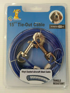 Dog Tie Out - 15' Cable - For Dogs Up to 60lbs